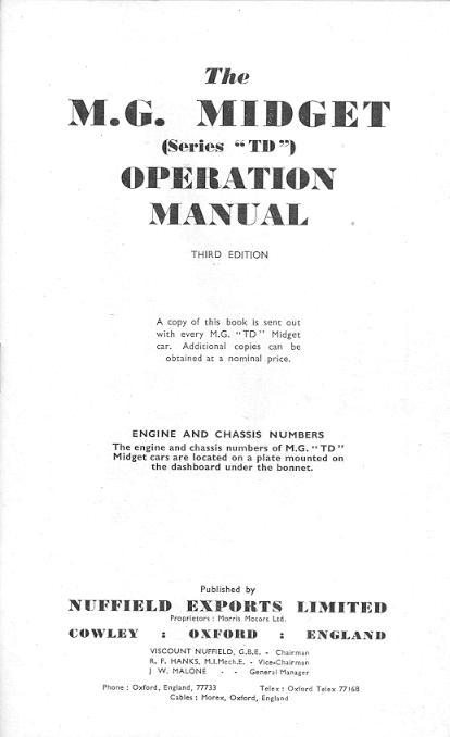 The Original MGTD Midget Manuals – Operation Manual