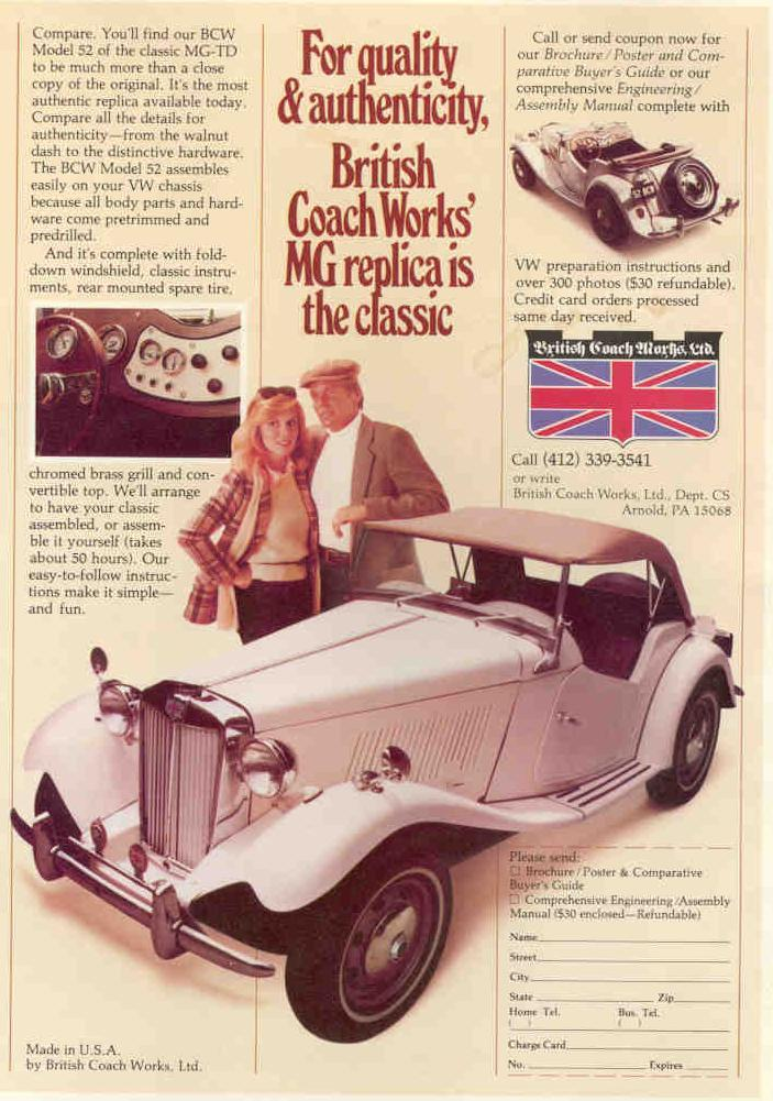 the original mgtd midget reproduction mgtd s british coach works british coach works ad 1981